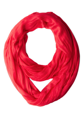 Brighten Up Circle Scarf in Reef - Red, Solid, Minimal, Good, Variation, Basic, Woven, Sheer, Gifts Sale, Fall, Under $20