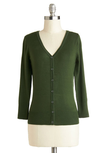 Charter School Cardigan in Pine - Green, Solid, 3/4 Sleeve, Good, Knit, Buttons, Scholastic/Collegiate, Button Down, V Neck, Mid-length, Work, Casual, Vintage Inspired, Green, 3/4 Sleeve, Gifts Sale