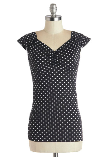 Dotted With Fun Top - Knit, Mid-length, Black, Polka Dots, Ruching, Film Noir, Sweetheart, Party, Girls Night Out, Rockabilly, Pinup, Cap Sleeves, Good, Black, Short Sleeve, White, Exclusives, Gifts Sale