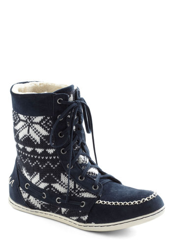 Telluride it Out Boot - Flat, Knit, Blue, White, Print, Casual, Folk Art, Winter, Lace Up, Gifts Sale