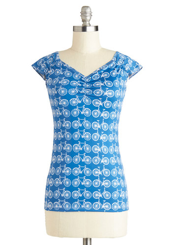 Deserves a Pedal Top - Mid-length, Knit, Blue, Novelty Print, Ruching, Quirky, Sweetheart, Cap Sleeves, Casual, Vintage Inspired, Good, Blue, Short Sleeve, Gifts Sale, Summer