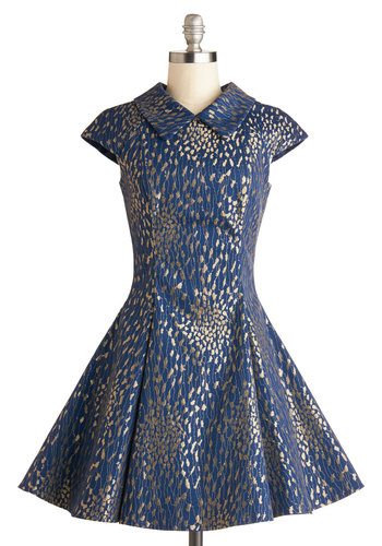 Party for the Course Dress - Blue, Gold, Print, Party, Fit & Flare, Cap Sleeves, Better, Collared, Mid-length, Woven, Gifts Sale