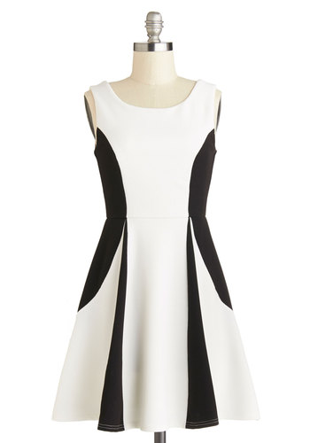 Era Dynamic Dress - White, Black, Party, Colorblocking, A-line, Tank top (2 thick straps), Good, Scoop, Short, Woven, Gifts Sale