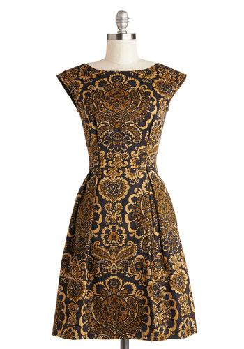 Be Outside Dress in Baroque - Gold, Print, Party, A-line, Sleeveless, Better, Scoop, Cotton, Woven, Black, Pockets, Gifts Sale, Mid-length