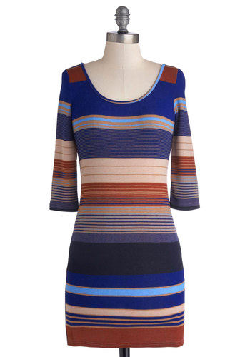 Bayside Bash Dress - Blue, Brown, Tan / Cream, Stripes, Casual, Bodycon / Bandage, 3/4 Sleeve, Good, Scoop, Short, Knit, Gifts Sale