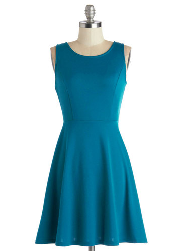 Fun Back Soon Dress - Blue, Solid, Backless, Bows, Casual, A-line, Sleeveless, Good, Scoop, Mid-length, Knit, Cutout, Gifts Sale