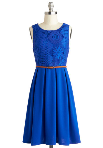 Outside and About Dress - Blue, Solid, Lace, Pleats, Belted, Casual, A-line, Sleeveless, Good, Scoop, Mid-length, Knit, Cotton, Gifts Sale