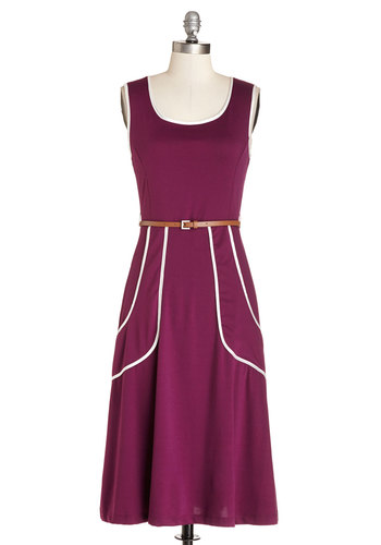 Outline of Work Dress in Plum - White, Pockets, Trim, Belted, Casual, Shift, Tank top (2 thick straps), Good, Scoop, Jersey, Knit, Purple, Gifts Sale, Long