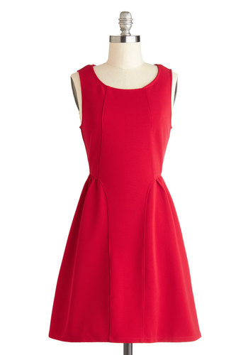 Bowl of Cheery Dress - Red, Solid, Exposed zipper, Party, A-line, Sleeveless, Good, Short, Knit, Crew, Gifts Sale