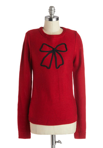 Tied Up in Beauty Sweater - Red, Bows, Better, Long Sleeve, Woven, Mid-length, Crew, Novelty Print, Holiday Party, Vintage Inspired, 50s, Quirky, Red, Long Sleeve, Black, Gifts Sale
