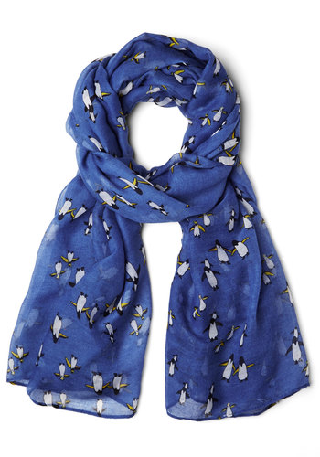 Waddle You Do Next? Scarf - Blue, Multi, Print with Animals, Better, Sheer, Woven, Casual, Critters, Gifts Sale