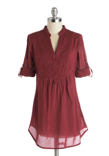 Back Road Ramble Tunic in Wine - Red, Solid, Buttons, Casual, Good, Long, Cotton, Woven, Pleats, 3/4 Sleeve, Variation, Gifts Sale, Red, Tab Sleeve