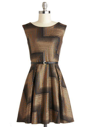 Angles in the Art Field Dress - Print, Belted, Cocktail, Holiday Party, A-line, Sleeveless, Good, Knit, Mid-length, Black, Copper, Boat, Gifts Sale