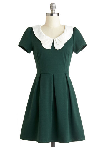 Looking to Tomorrow Dress in Evergreen - Green, White, Solid, Peter Pan Collar, Casual, Vintage Inspired, 60s, A-line, Good, Knit, Exposed zipper, Pleats, Short Sleeves, Exclusives, Variation, Collared, Gifts Sale, Short