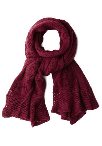 Heartwarming Up Scarf in Burgundy - Red, Solid, Crochet, Fall, Winter, Good, Variation, Woven, Gifts Sale