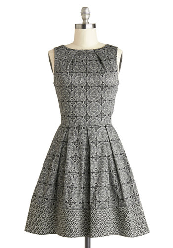 Shoreline Soiree Dress in Kaleidoscope - Grey, Tan / Cream, Print, A-line, Sleeveless, Better, Boat, Mid-length, Cotton, Woven, Exposed zipper, Pleats, Pockets, Party, Work, Fit & Flare, Variation, Gifts Sale