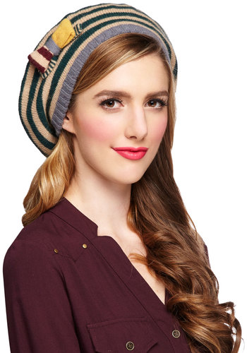 Museum Educator Hat by Alice Hannah London - Multi, Stripes, Bows, Trim, International Designer, Knit, Casual, Fall, Winter