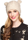 Ears to You Hat - Cream, Print with Animals, Knitted, Quirky, Fall, Winter, Knit, Solid, Holiday
