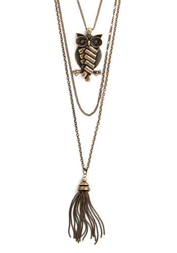 Take Under Wing Necklace - Gold, Print with Animals, Tassles, Owls, Good, Festival, Top Rated