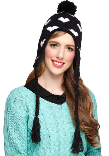 I Heart Winter Hat - Knit, Black, White, Poms, Tassels, Casual, Winter, Print, Fall, Better, Valentine's