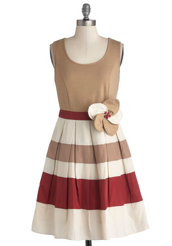 Pretty and Polished Dress by Ryu - Tan, Red, Tan / Cream, Stripes, Flower, Daytime Party, Fit & Flare, Tank top (2 thick straps), Better, Scoop, Mid-length, Knit, Woven, Cutout, A-line, Gifts Sale