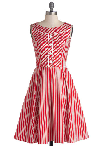 Cheery Cordials Dress - Red, White, Stripes, Buttons, Casual, A-line, Sleeveless, Better, Exclusives, Mid-length, Cotton, Woven, Vintage Inspired, 50s, Gifts Sale
