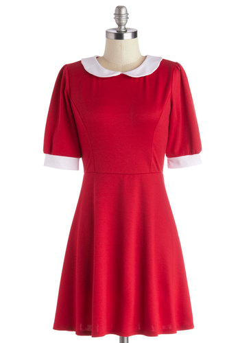 Year After Yesteryear Dress - Red, White, Solid, Peter Pan Collar, Mod, A-line, Short Sleeves, Exclusives, Collared, Knit, Short, Casual, Gifts Sale