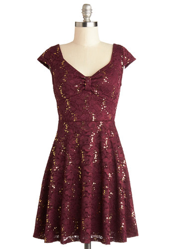 Cask Party Dress - Red, Gold, Lace, Sequins, Holiday Party, A-line, Cap Sleeves, Good, Mid-length, Woven, Party, Gifts Sale