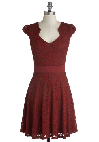 Winery Wedding Dress - Red, Solid, Lace, Party, A-line, Cap Sleeves, Good, Mid-length, Woven, Gifts Sale