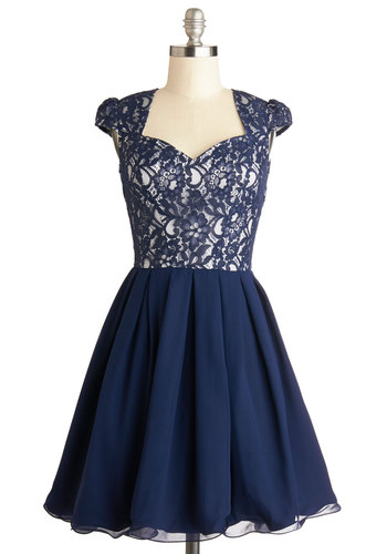 Loganberry Beautiful Dress in Navy - Mid-length, Woven, Blue, White, Cutout, Lace, Party, A-line, Cap Sleeves, Better, Sweetheart, Variation, Gifts Sale