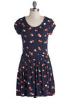 Good to the Core Dress - Blue, Red, Tan / Cream, Novelty Print, Casual, Fruits, A-line, Cap Sleeves, Scoop, Jersey, Knit, Short, Good, Gifts Sale