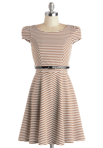 Over and Underline Dress in Brown - Brown, Tan / Cream, Stripes, Belted, Casual, A-line, Cap Sleeves, Good, Scoop, Woven, Gifts Sale, Short