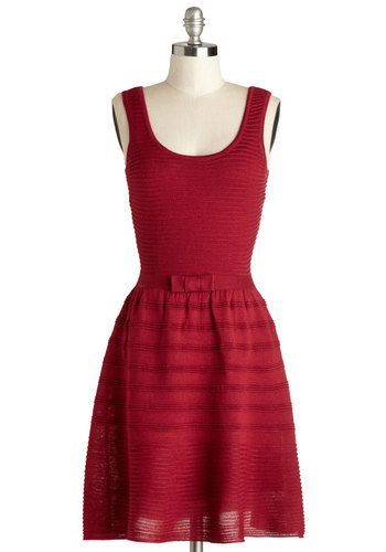 All Knit Long Dress by BB Dakota - Red, Solid, Bows, Minimal, Sweater Dress, Tank top (2 thick straps), Exclusives, Scoop, Mid-length, Knit, Better, Party, Gifts Sale