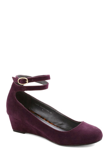Sommelier to Talk About Wedge - Mid, Faux Leather, Purple, Solid, Good, Work, Wedge, Gifts Sale
