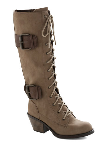 Want to Wander Boot in Tan - Tan, Brown, Buckles, Steampunk, Mid, Better, Lace Up, Chunky heel, Faux Leather, Variation
