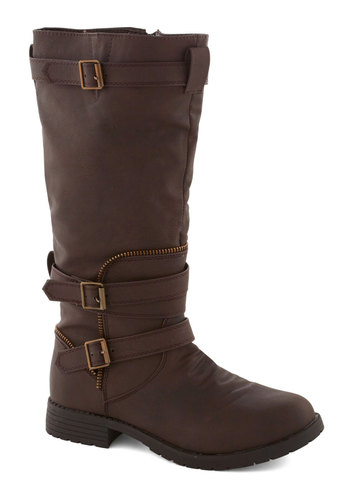 Brown and Country Boot - Brown, Solid, Buckles, Exposed zipper, Good, Low, Faux Leather, Casual, Fall