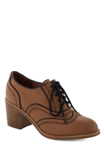 Rambler's Choice Heel by Jeffrey Campbell - Tan, Blue, Trim, Mid, Best, Lace Up, Chunky heel, Faux Leather, Menswear Inspired, Scholastic/Collegiate