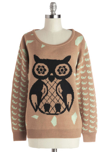 Knew It Owl Along Sweater - Tan, Print with Animals, Casual, Long Sleeve, Mid-length, Knit, Black, Owls, Scoop, Mint, Fall, Winter, Brown, Long Sleeve
