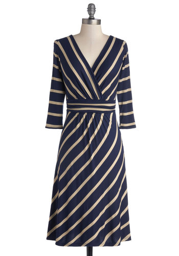Over and Outdoors Dress - Knit, Jersey, Blue, Tan / Cream, Stripes, Work, A-line, 3/4 Sleeve, Good, V Neck, Casual, Top Rated, Long