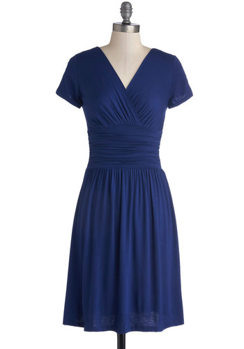 Unequalled Enthusiasm Dress - Knit, Mid-length, Blue, Solid, Ruching, Casual, A-line, Short Sleeves, Good, V Neck, Minimal, Basic, Top Rated