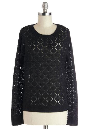 Bushel and a Trek Sweater - Black, Solid, Long Sleeve, Good, Mid-length, Knit, Scoop, Casual, Sheer, Black, Long Sleeve