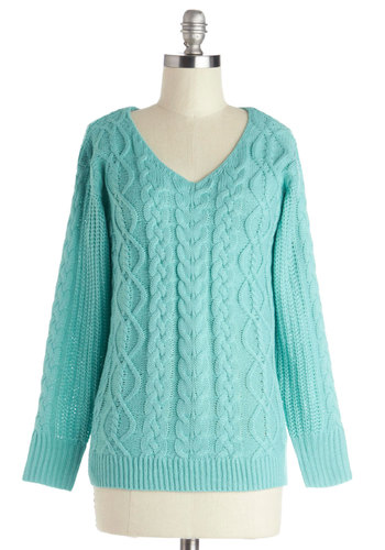 Smiles for Miles Sweater - Solid, Long Sleeve, Good, Mid-length, Knit, V Neck, Blue, Knitted, Casual, Winter, Blue, Long Sleeve