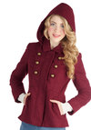 Food Forest Tour Coat by Jack by BB Dakota - Mid-length, Red, Solid, Buttons, Pockets, Military, Long Sleeve, Collared, Good, 3, Red