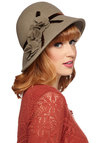 Tilt We Meet Again Hat - Grey, Brown, Solid, Flower, Vintage Inspired, 20s, 30s, Best