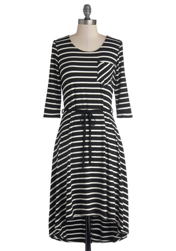 Afternoon Revamp Dress - Knit, Mid-length, Jersey, Black, White, Stripes, Pockets, Belted, Casual, High-Low Hem, 3/4 Sleeve, Good, Scoop