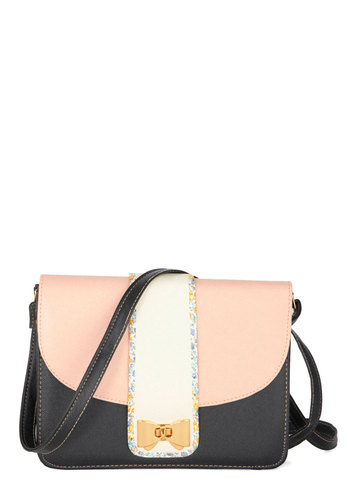 Tremendous Trendsetter Bag - Faux Leather, Pink, White, Solid, Bows, Trim, Colorblocking, Black