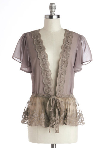 To Quiche Their Own Cardigan in Taupe - Chiffon, Sheer, Woven, Mid-length, Grey, Lace, Scallops, Belted, Fairytale, Short Sleeves, Better, Daytime Party, Vintage Inspired, Variation, Grey, Short Sleeve, Holiday Party