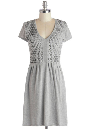 Stay for Sweets Dress - Cotton, Knit, Mid-length, Grey, Solid, Casual, Sweater Dress, Short Sleeves, Better, V Neck, Winter