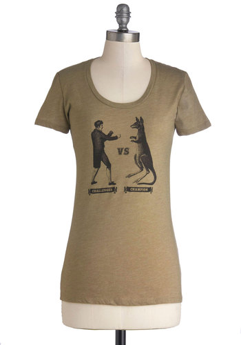 Total Knockout Tee - Mid-length, Jersey, Knit, Print with Animals, Casual, Short Sleeves, Scoop, Good, Tan, Black, Novelty Print, Brown, Short Sleeve, Top Rated