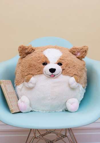 Plush One Pillow in Corgi - Tan, Kawaii, Quirky, Better, White, Print with Animals